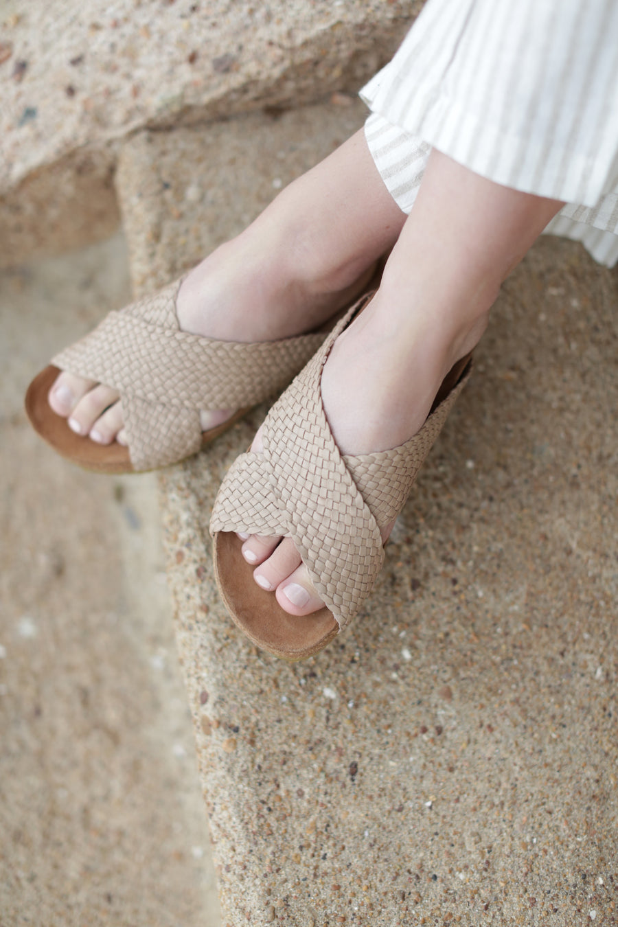 Mable Woven Slip On Taupe