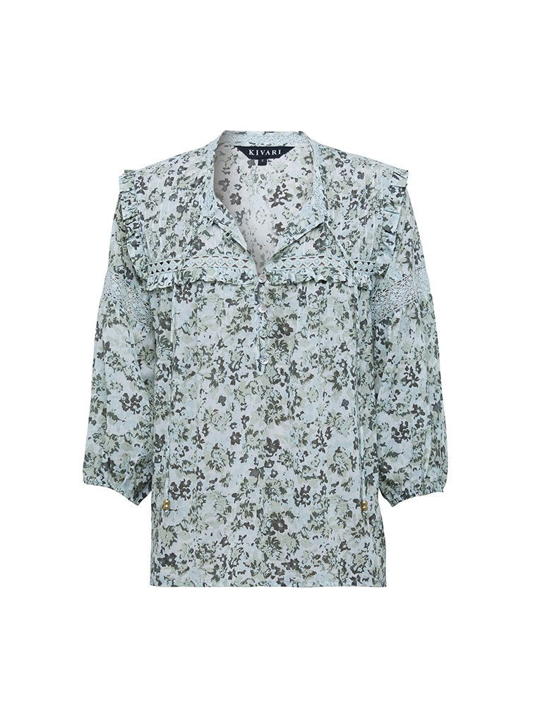 Kivari Valley Floral Blouse Emerald Floral