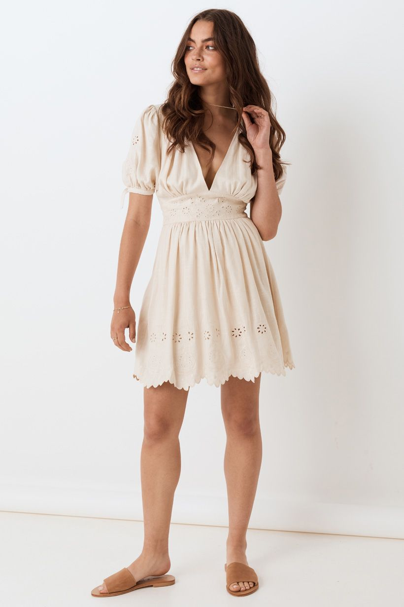 Spell Imogen Embroidered Party Dress Cream