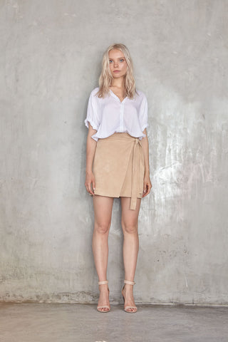 Lilya Mara Suede Wrap Skirt Natural // PREORDER - Call Me The Breeze - 1