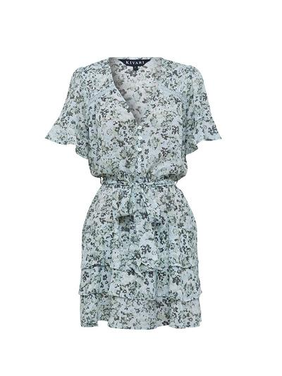 Kivari Valley Floral Frill Mini Dress Emerald Floral