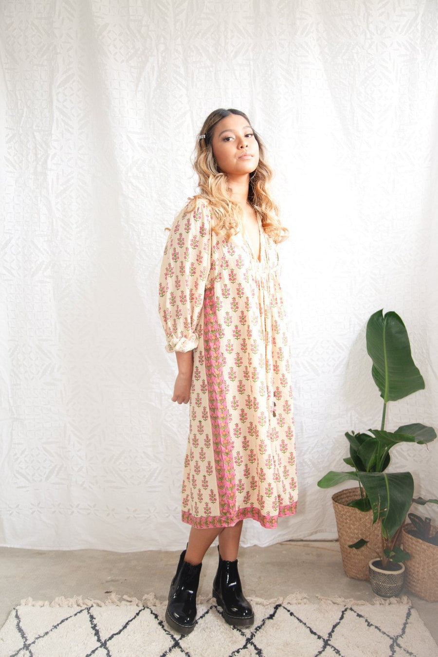 Kinga Csilla Marrakech Pansies Dress Pinks