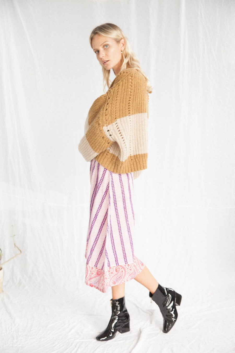 Kinga Csilla Liguria Knit Caramel Stripe