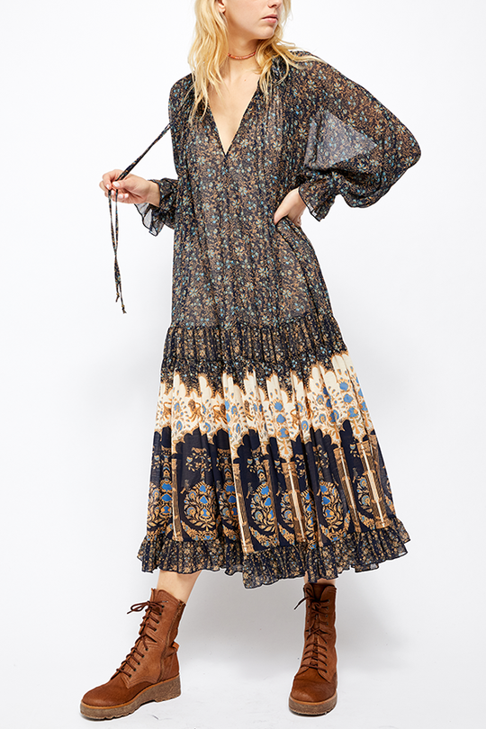 Free People Feeling Groovy Border Print Maxi Dark Blue