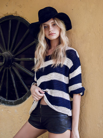Lilya Morgan Knit Jumper Sand/Navy // PREORDER - Call Me The Breeze - 1