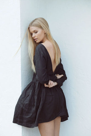 The Bare Road Vee Back Dress Black