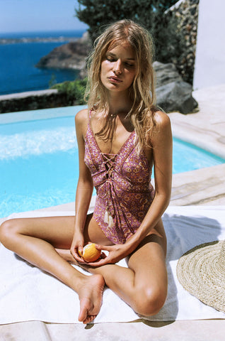 Spell Gypset Lace Up One Piece Plum
