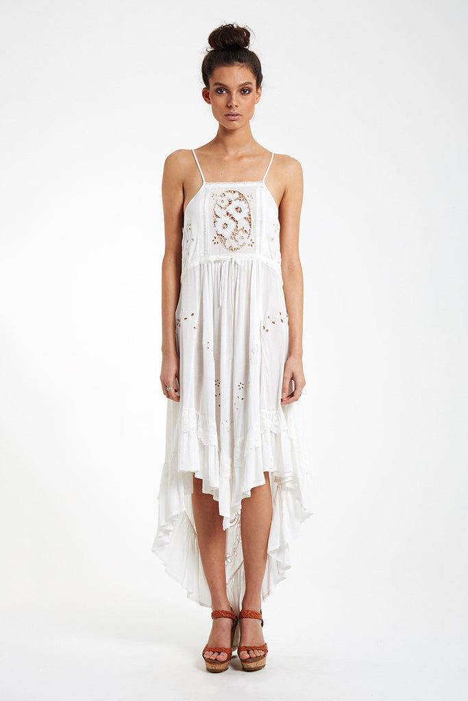 Spell Isla Bonita Embroidered Dress White - Call Me The Breeze - 2
