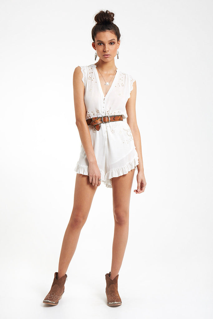 Spell Isla Bonita Embroidered Romper White - Call Me The Breeze - 3