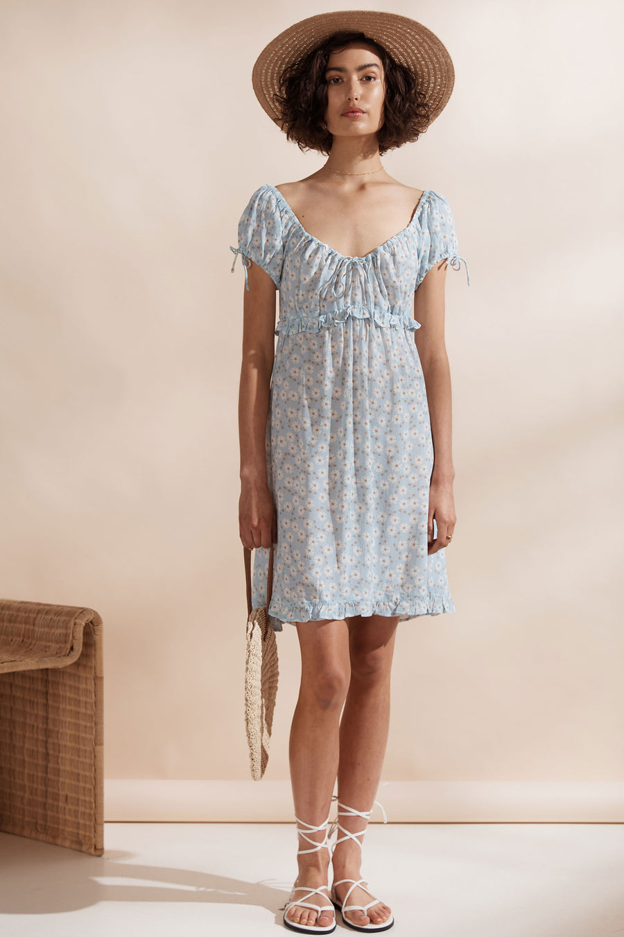 Saint Helena Isola Mini Dress Sky Blossom