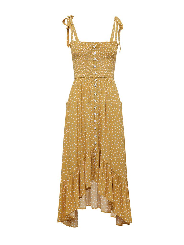 Kivari Maise Shirring Midi Dress Yellow Polka