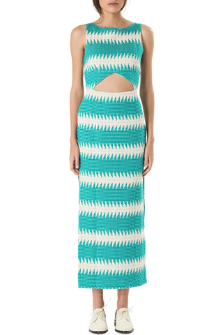 Mara Hoffman Cut Out Dress Jacquard Turquoise - Call Me The Breeze - 1