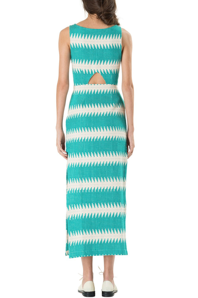Mara Hoffman Cut Out Dress Jacquard Turquoise - Call Me The Breeze - 3