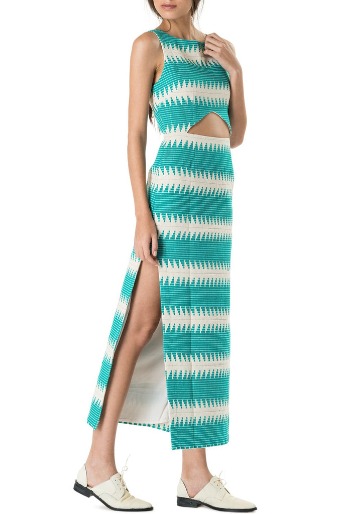 Mara Hoffman Cut Out Dress Jacquard Turquoise - Call Me The Breeze - 2