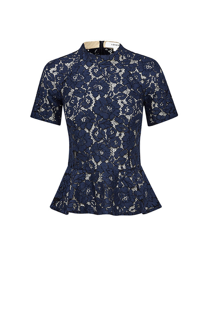 Lover Oasis Flounce Top Navy - Call Me The Breeze