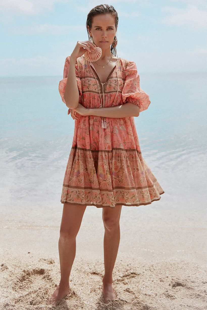 Spell Seashell Boho Mini Dress Coral