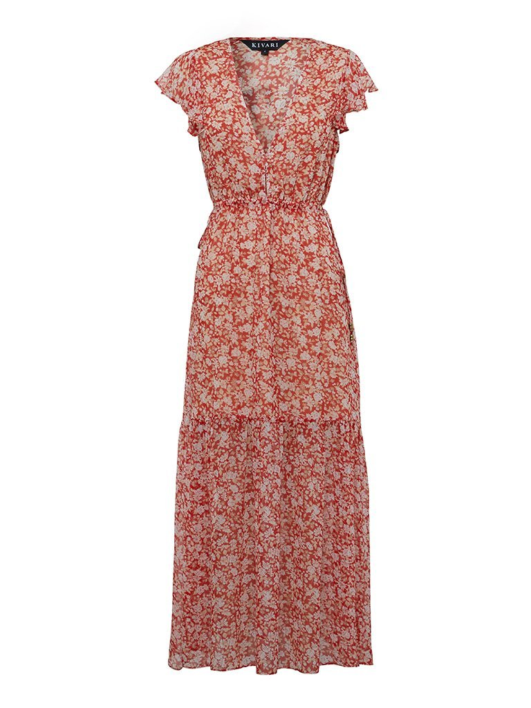 Kivari Farrah Sheer Tie Side Midi Red Baby Floral
