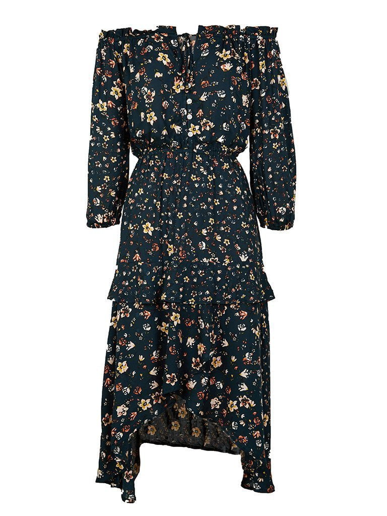 Kivari Baily Floral Off The Shoulder Midi Dress Black