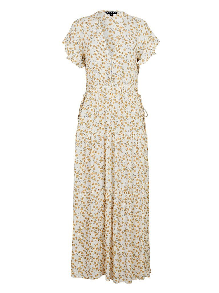 Kivari Jax Ditsy Maxi Dress White Daisy Floral