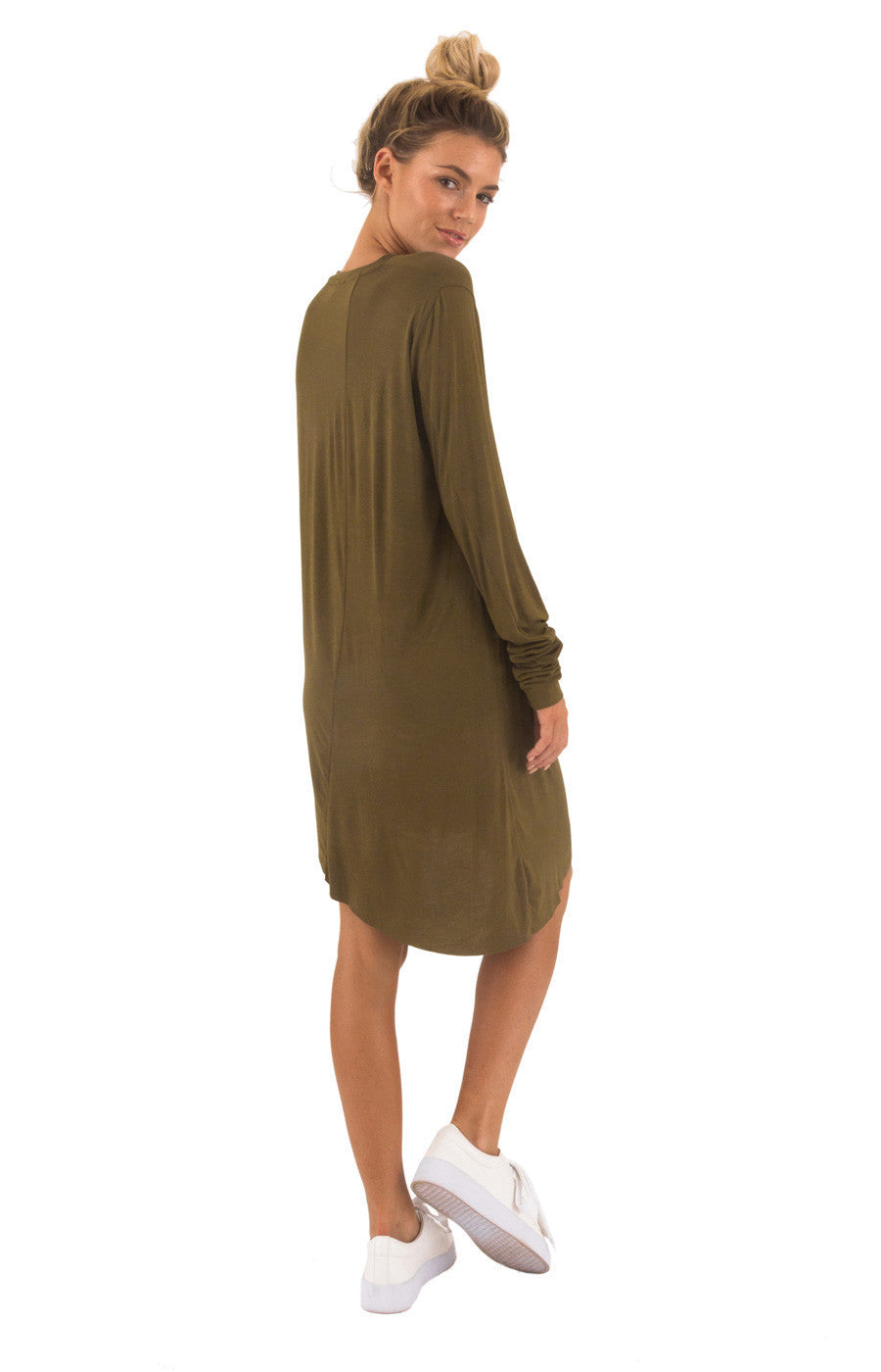 The Bare Road Raw Dress Olive