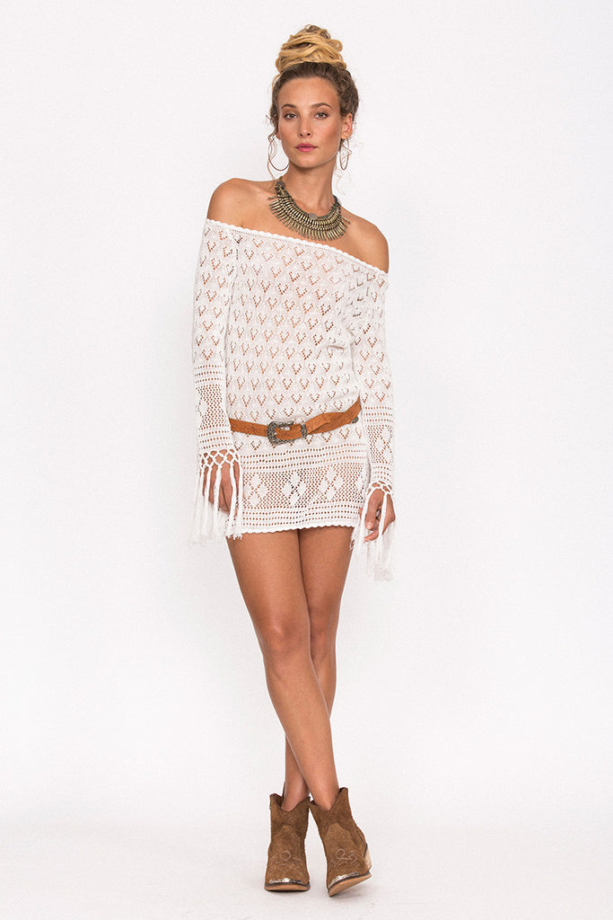 Spell Leila Off The Shoulder Mini Dress White - Call Me The Breeze - 4