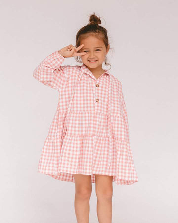 Lullaby Mini Avalon Smock Dress Candy Gingham