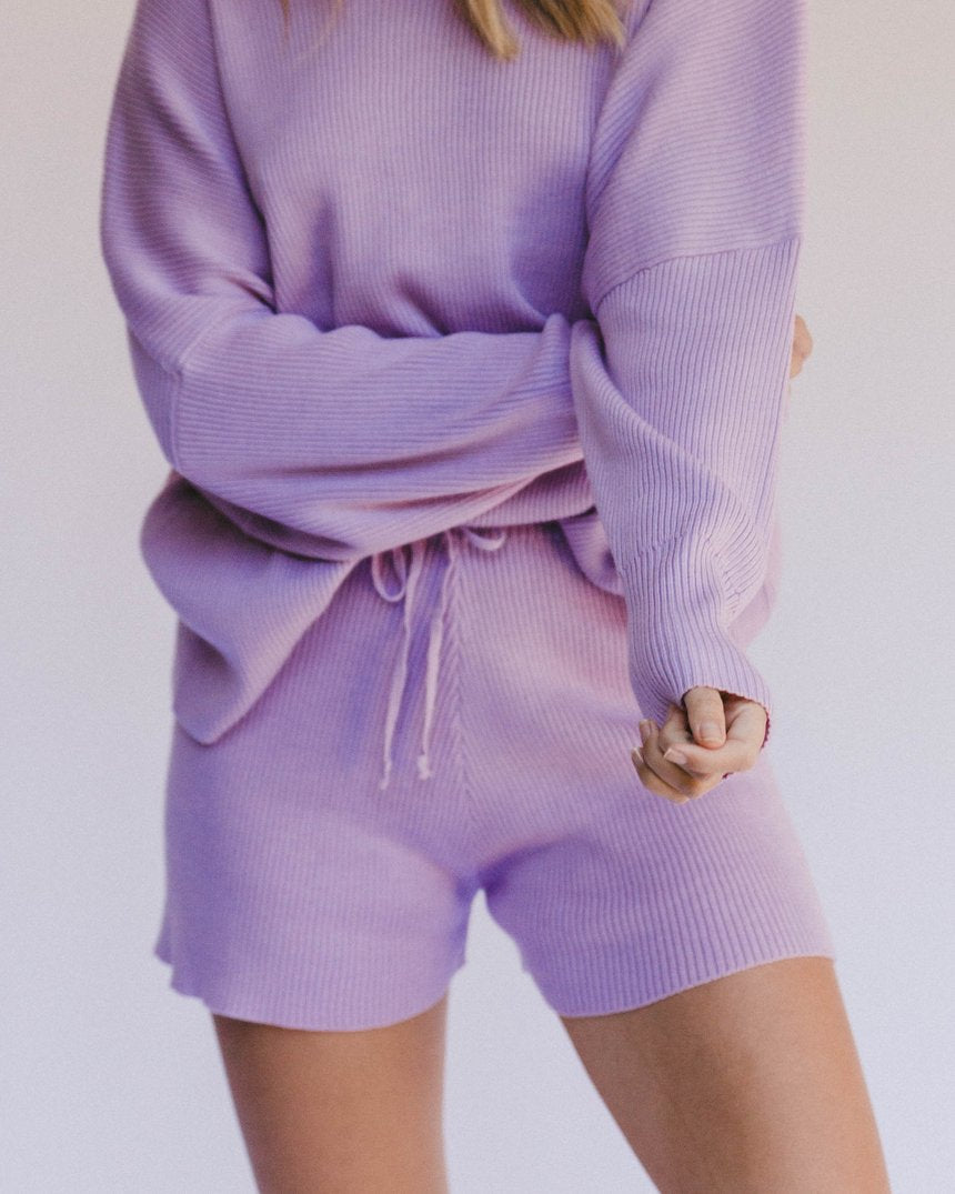 Lullaby Club Alex Knit Shorts Periwinkle