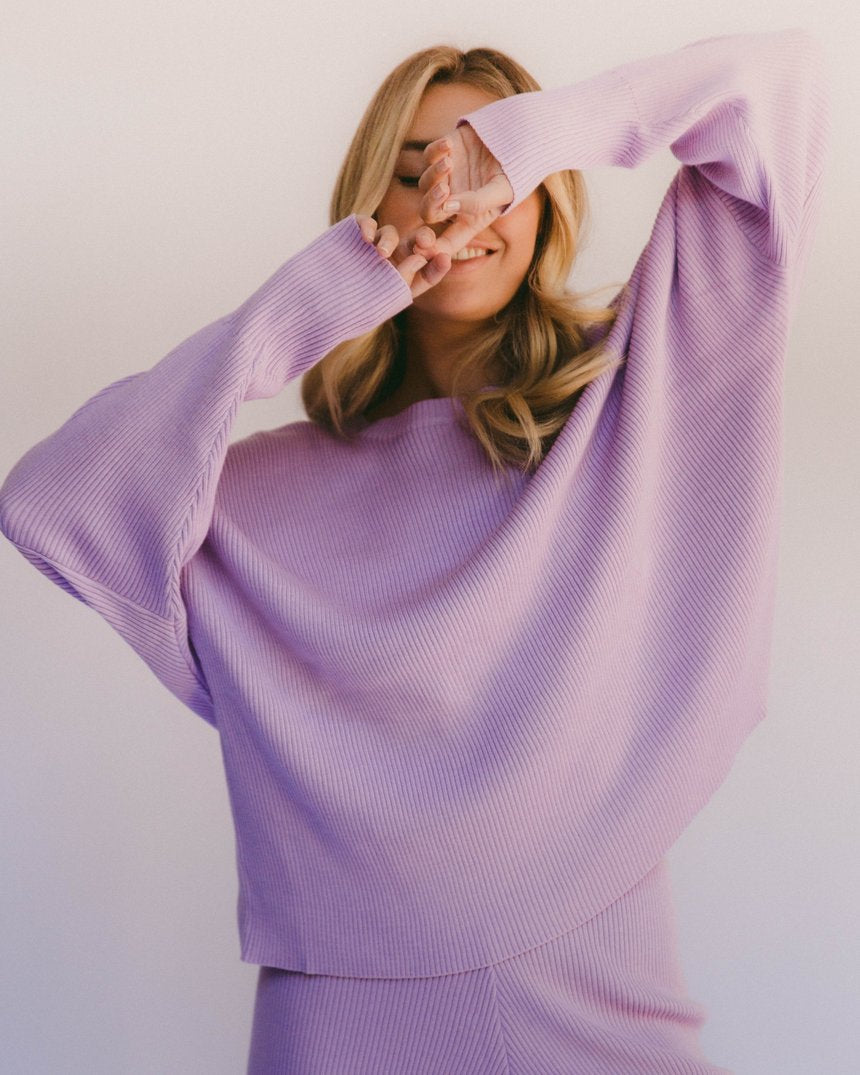 Lullaby Club Alex Knit Sweater Periwinkle