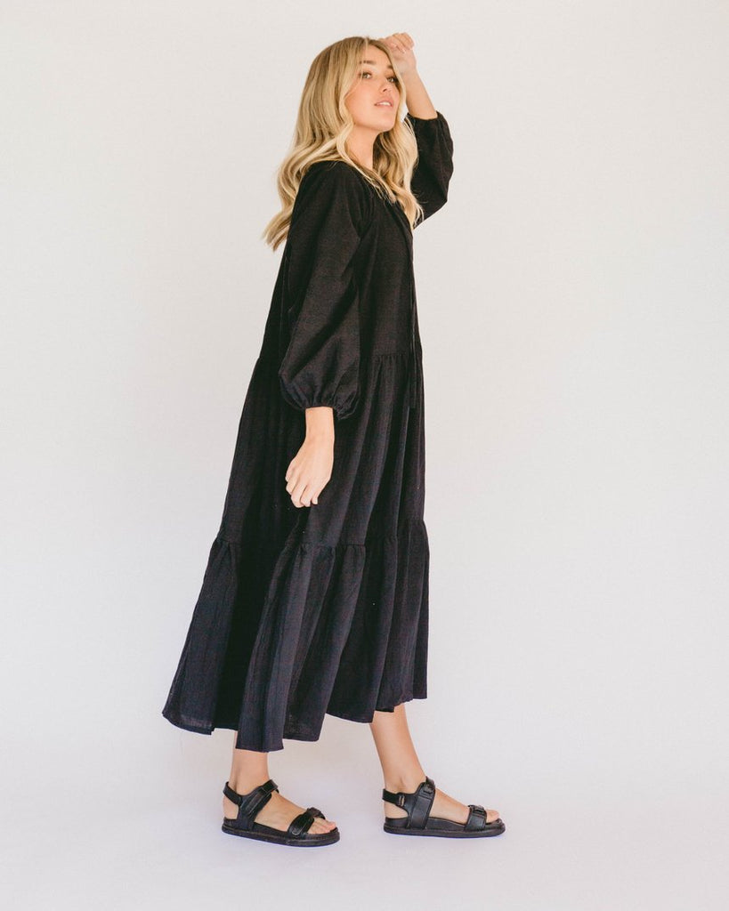 Lullaby Club Avalon Maxi Smock Dress Jet
