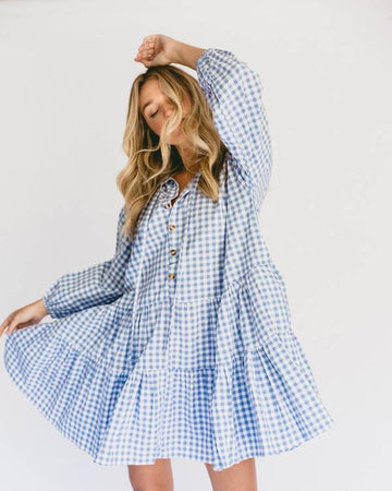 Lullaby Club Avalon Smock Dress Blue Gingham