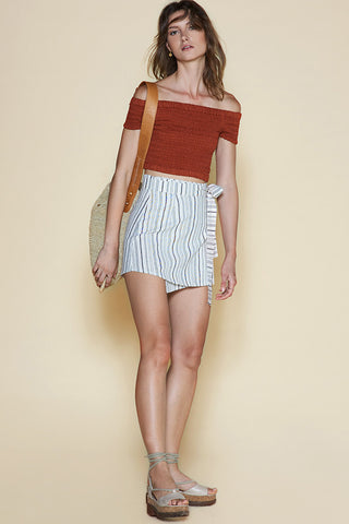 Sancia Amelie Shirred Crop Top Rust
