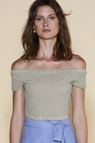 Sancia Amelie Shirred Crop Top Stone