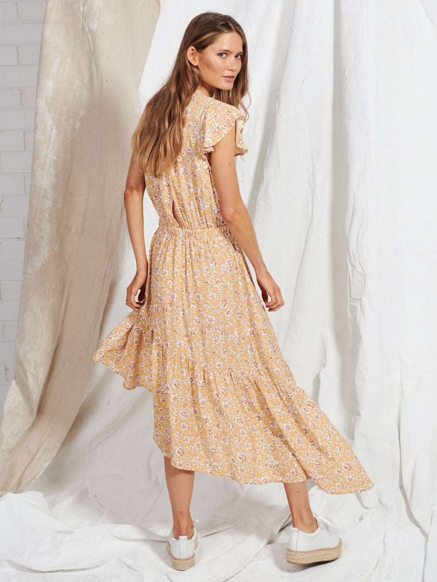 Kivari Freya Tie Up Midi Dress Peach Floral