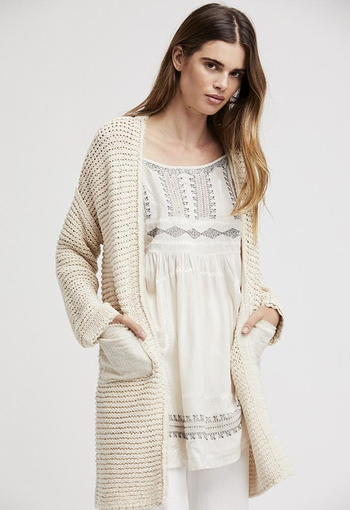 Free People Woodstock Cardi Ivory