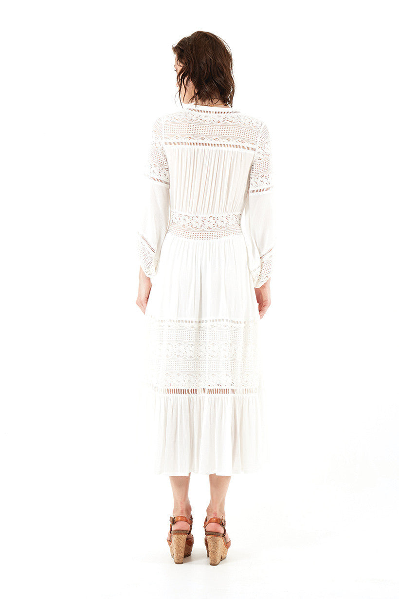 Spell Olivia Luxe Lace Midi Dress White - Call Me The Breeze - 5