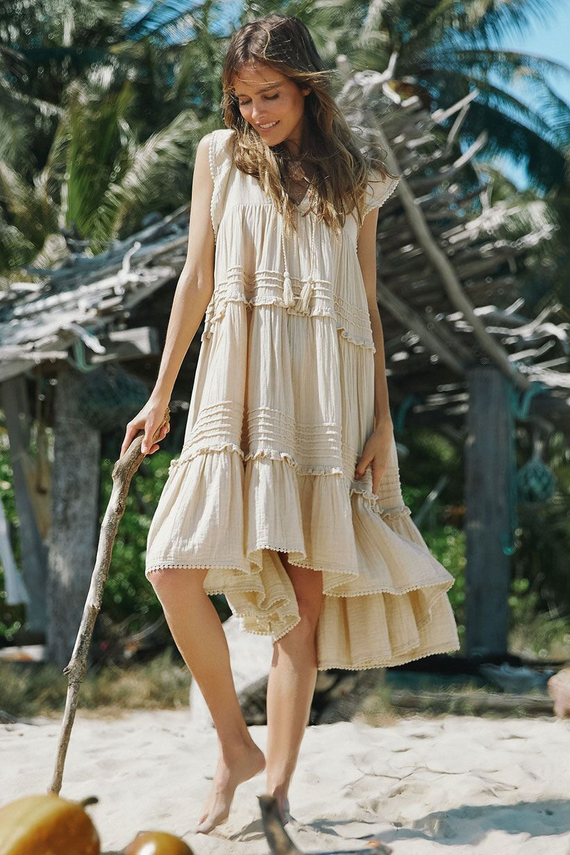 Spell Hanalei Midi Dress Sand