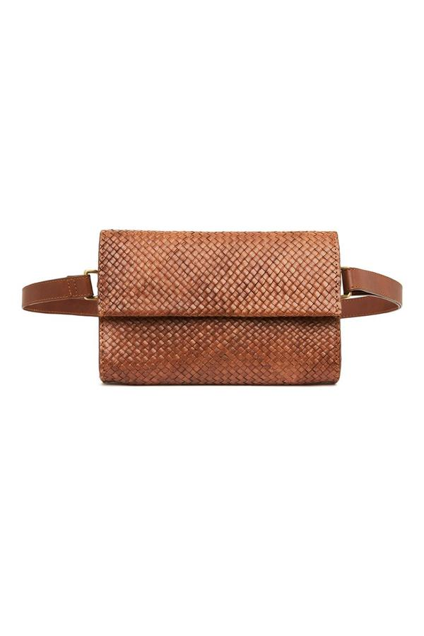 St Agni Marcel Woven Belt Bag Antique Tan