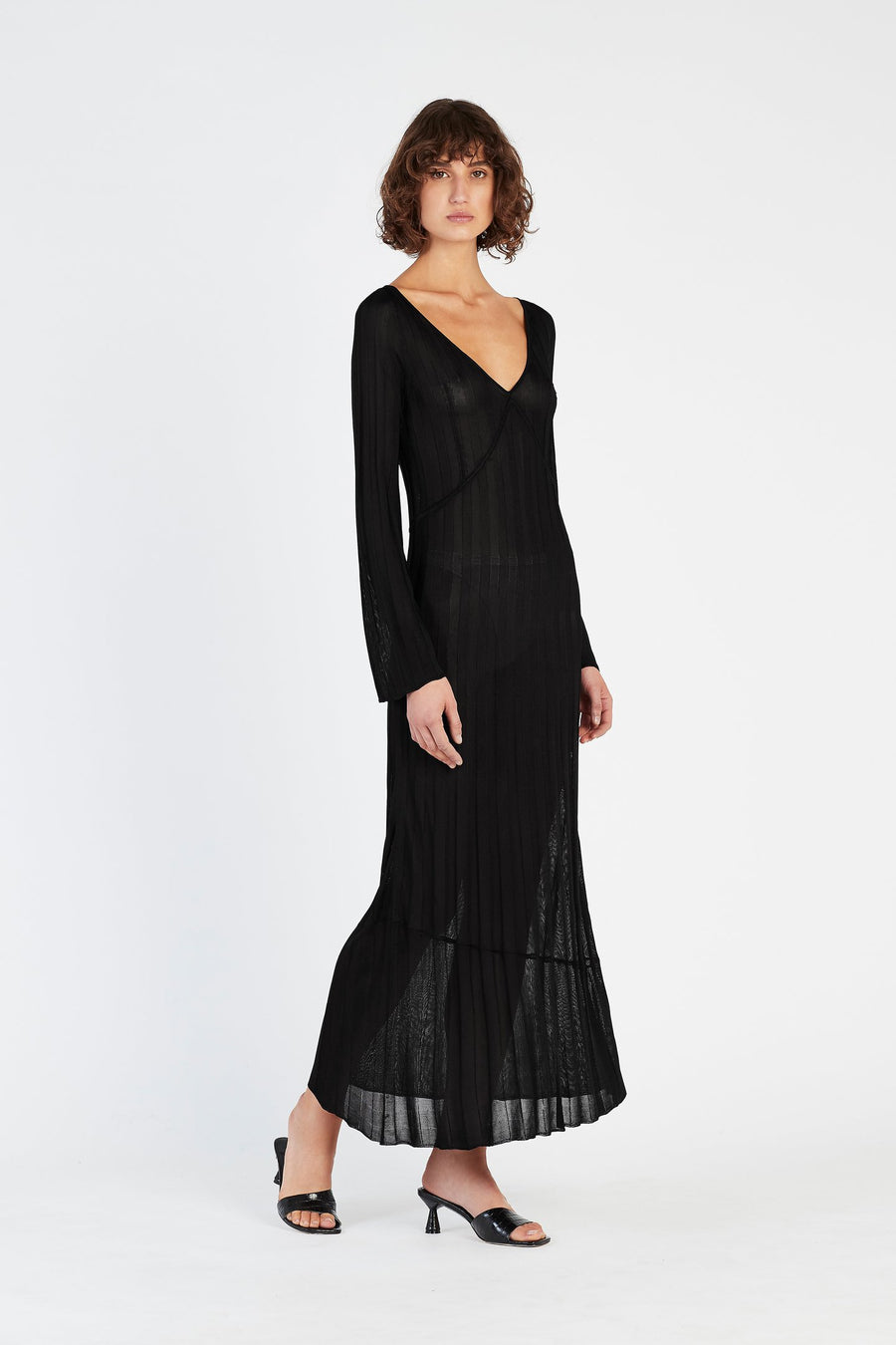 Sir Aya V Neck Midi Dress Black