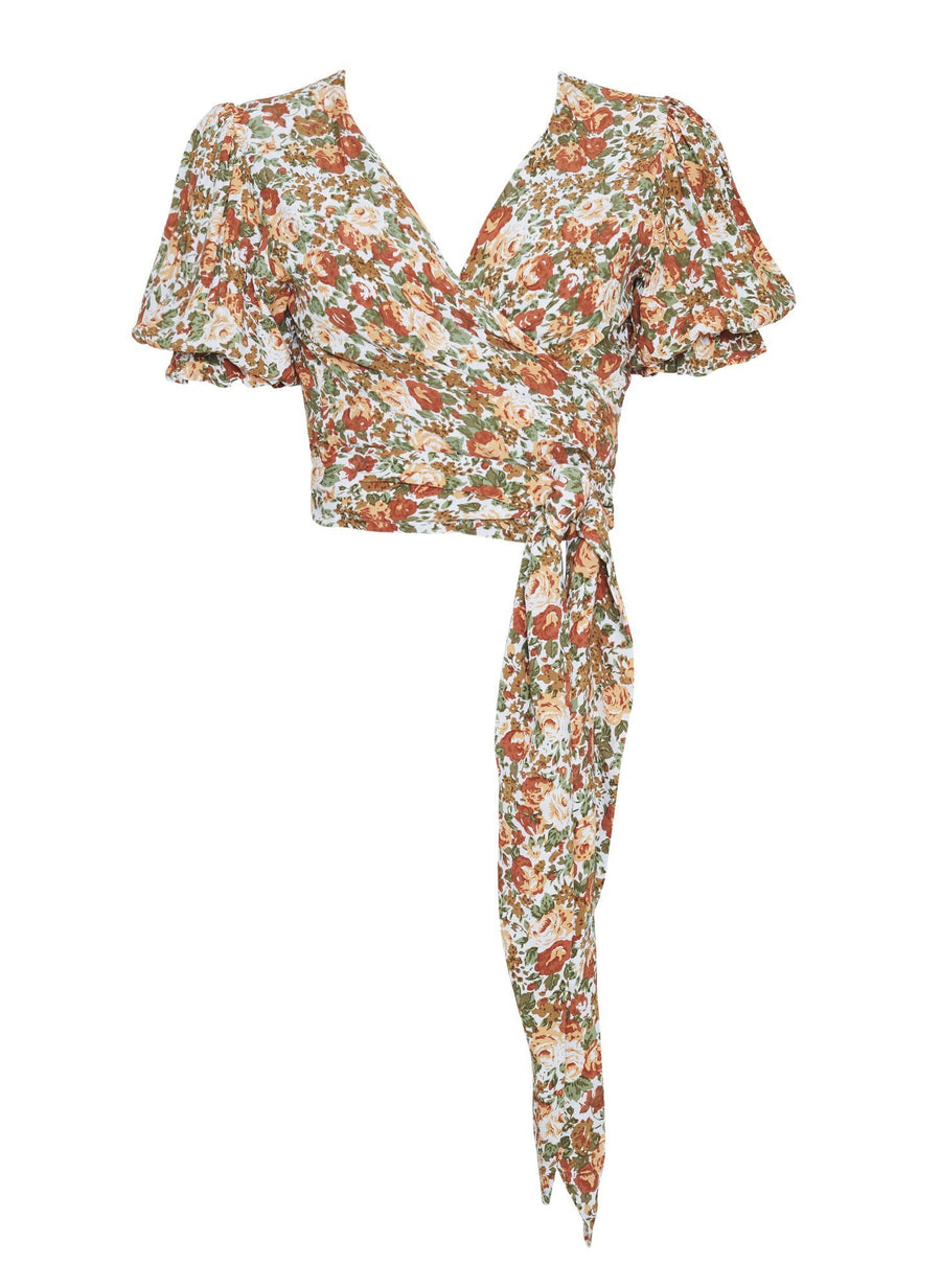 Faithfull The Brand Mali Wrap Top Le Rose Floral Print