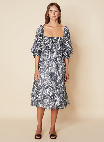 Faithfull Moira Midi Dress Faye Paisley Print Charcoal