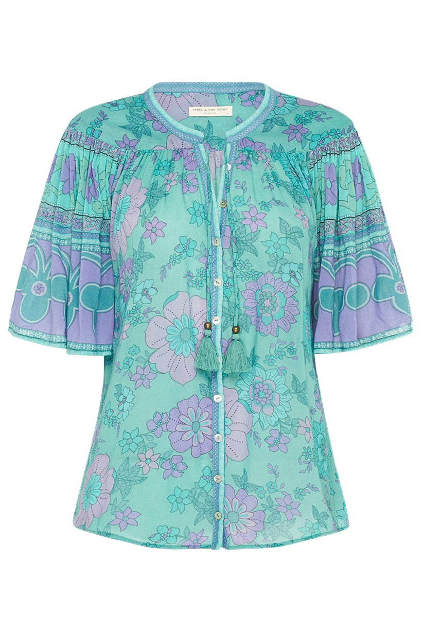 Spell Buttercup Short Sleeve Blouse Ocean