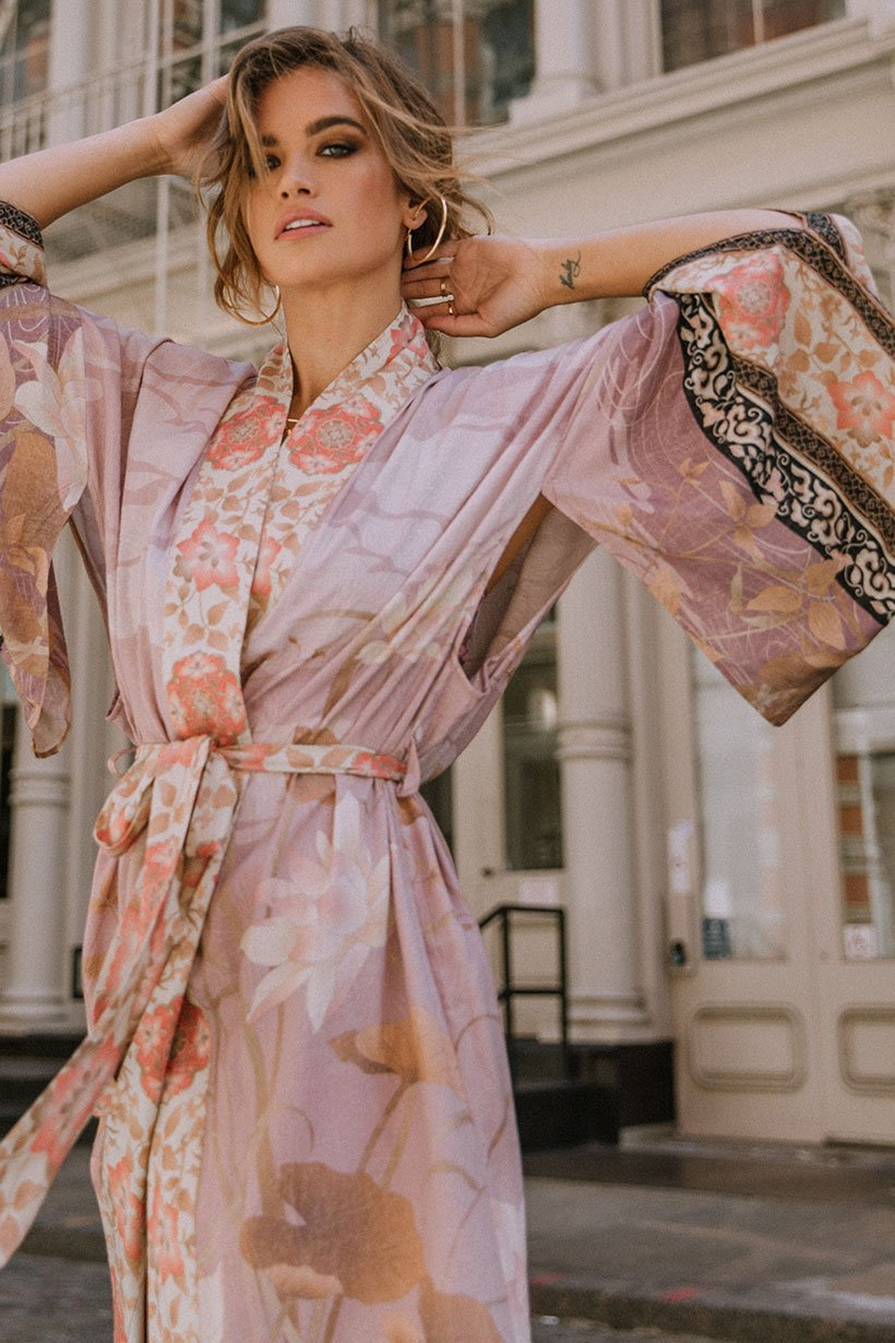 Spell Cherry Blossom Maxi Robe Dusty Pink