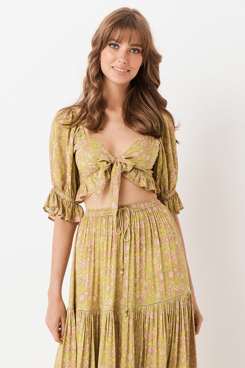 Spell Dahlia Peasant Cropped Top Bronze