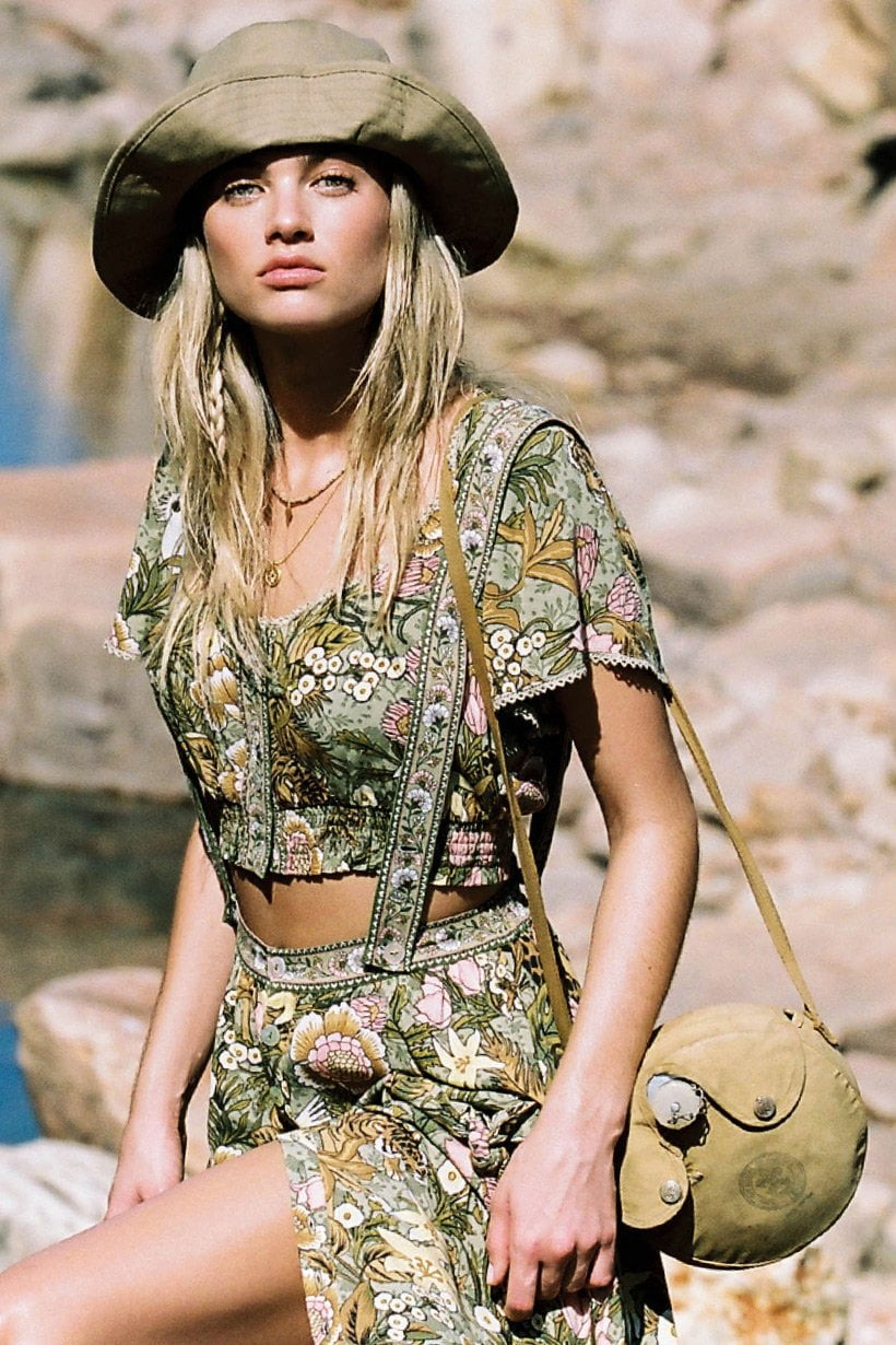 Spell Jungle Cropped Top Khaki