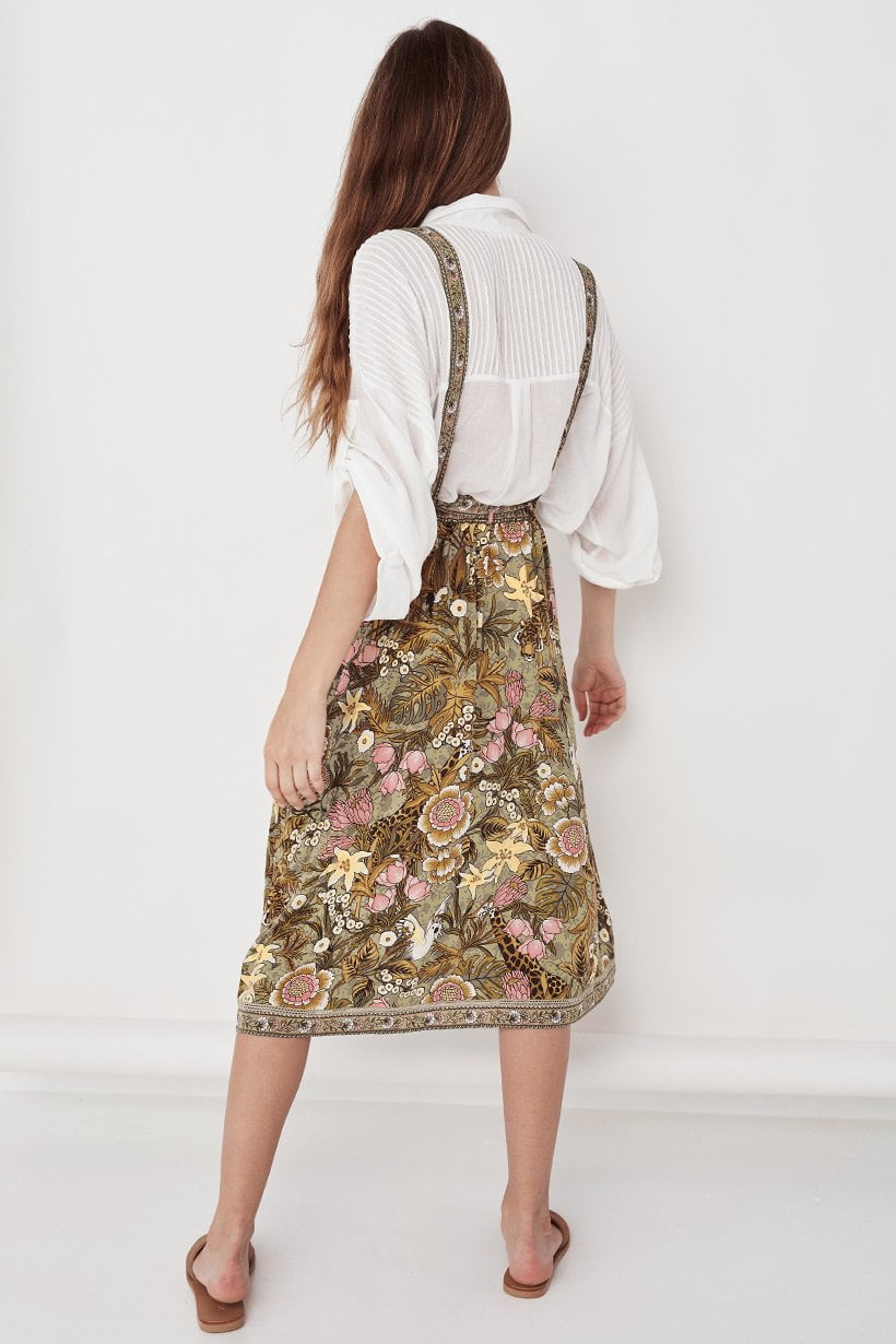 Spell Jungle Midi Skirt Khaki