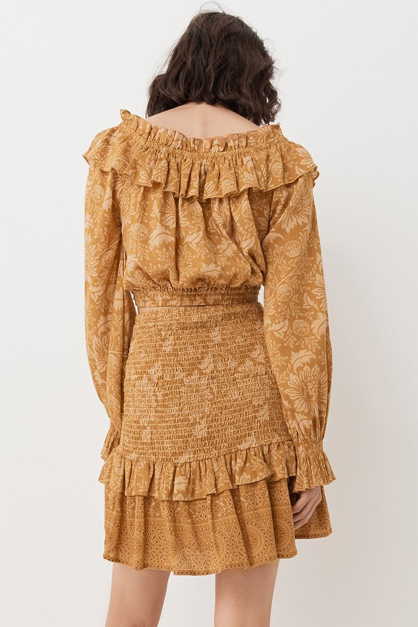 Spell Lioness Peasant Blouse Caramel