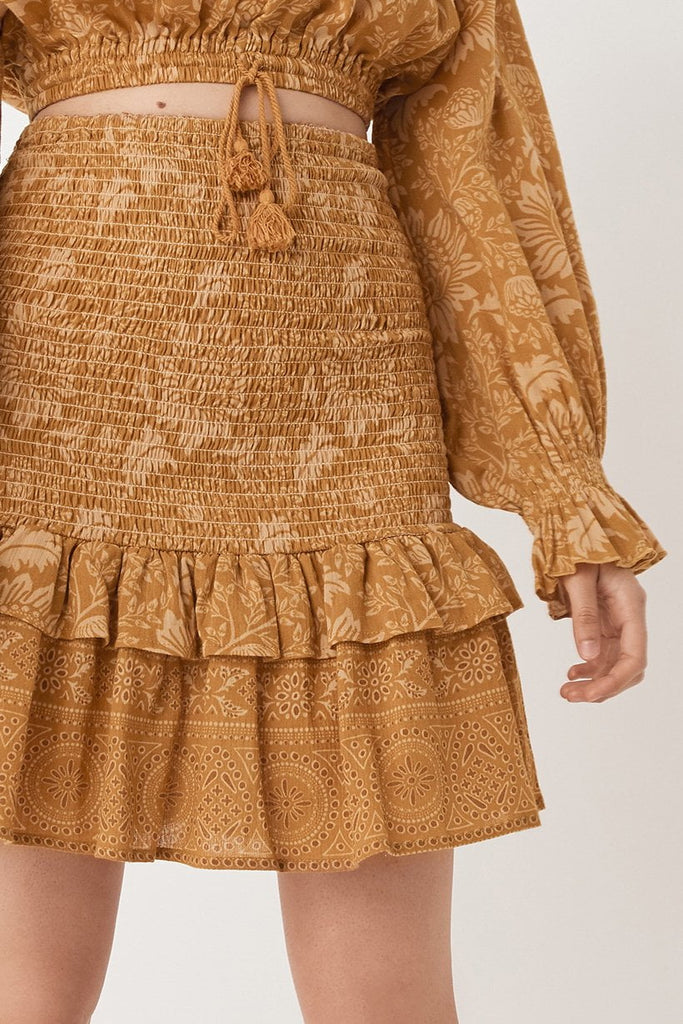 Spell Lioness Rouched Mini Skirt Caramel