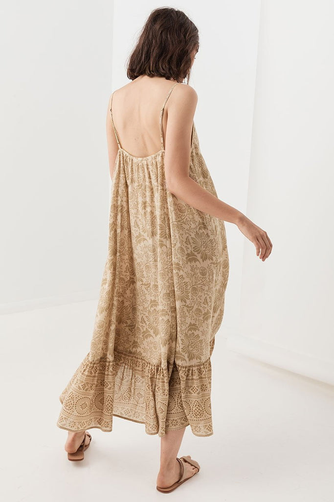 Spell Lioness Rouched Strappy Dress Smoke