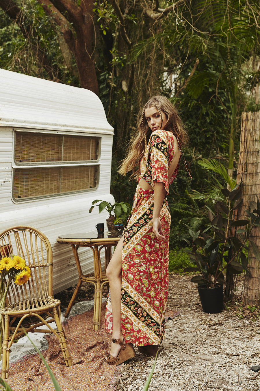 Spell Lolita Cut Out Maxi Dress Campfire