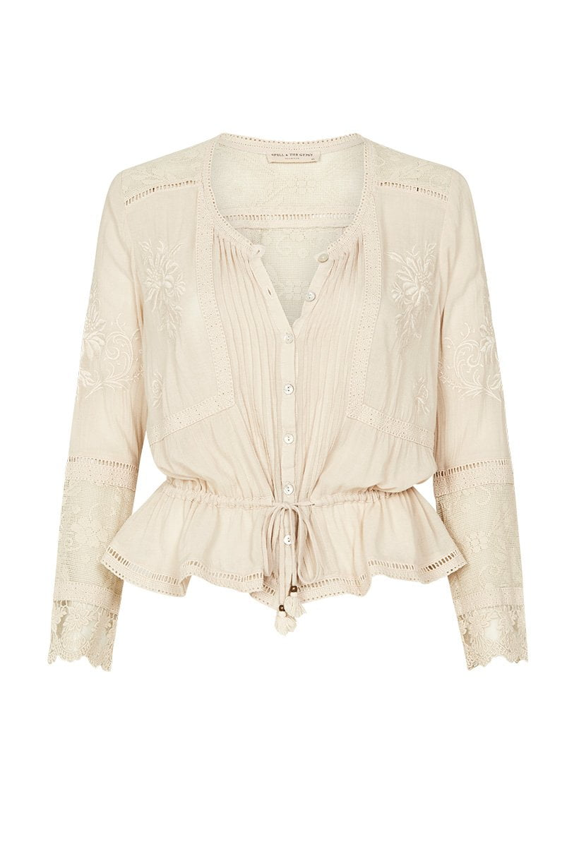 Spell Maggie Embroidered Blouse Off-White